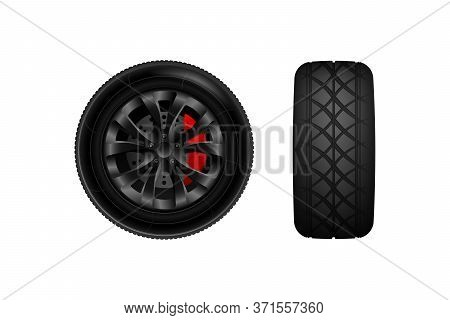 Realistic Vector Tires Set. Car Tires. Car Weels. Car Wheel With Brake Gear.