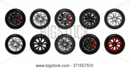 Set Of Realistic Shining Disk Car Wheel Tyre Set Isolated Vector Illustration