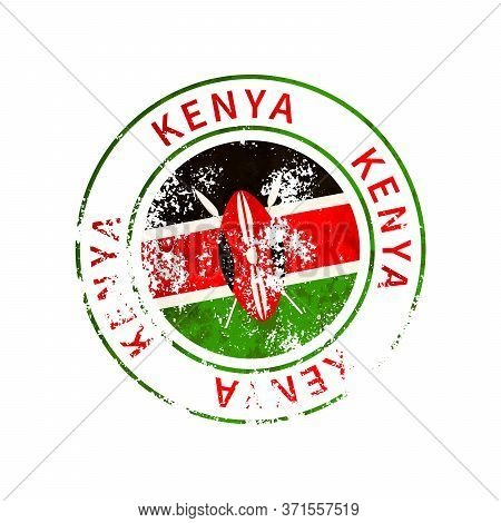 Kenya Sign, Vintage Grunge Imprint With Flag On White