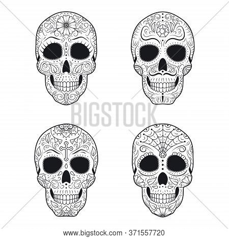 Set Day Of The Dead Sugar Skulls With Detailed Floral Ornament. Mexican Symbol Calavera Collection.