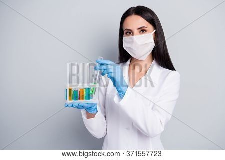 Close-up Portrait Of Her She Nice Attractive Girl Biologist Scientist Expert Doc Holding In Hands Fl