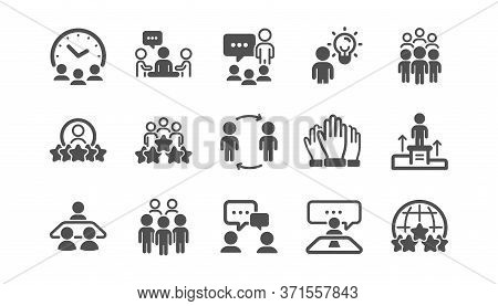 Business People Icons Set. Team Meeting, Group People, Job Structure. Communication, Leader Icons. C