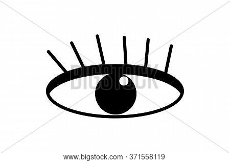 Eye Icon Isolated On White Background. Flat Design Style. Oracle Or Prophecy Logo Template. Sign For