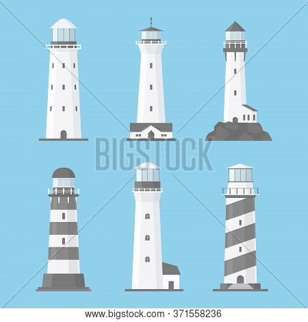 Cartoon Flat Lighthouses Vector Set Isolated On Blue Background. Old And Modern Architecture. Search