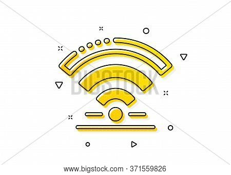 Wireless Internet Sign. Wifi Icon. Hotel Service Symbol. Yellow Circles Pattern. Classic Wifi Icon.