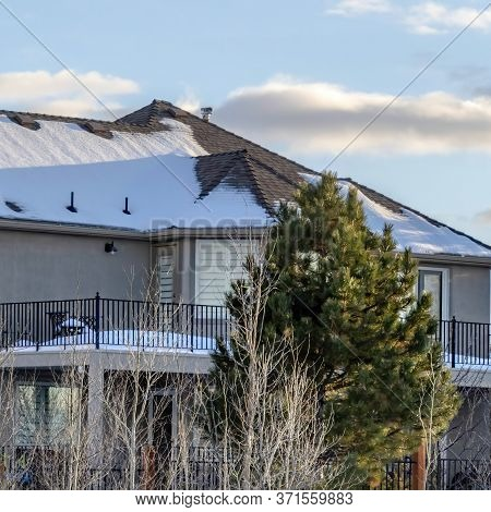 Square Home On Wasatch Mountains Residential Terrain With Cloudy Blue Sky Background