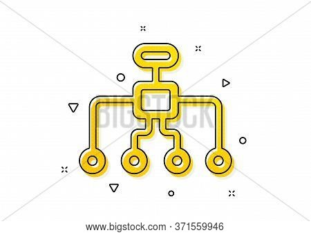 Business Architecture Sign. Restructuring Icon. Delegate Symbol. Yellow Circles Pattern. Classic Res