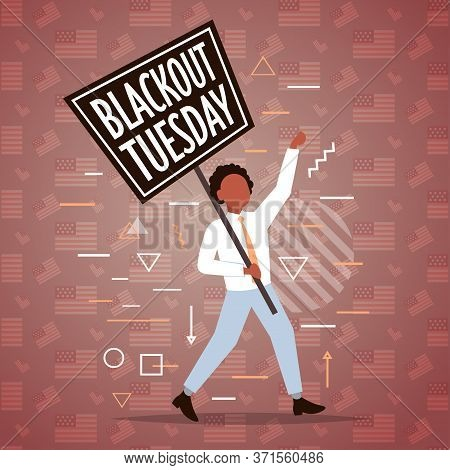 African American Man Holding Blackout Tuesday Banner Black Lives Matter Campaign Against Racial Disc
