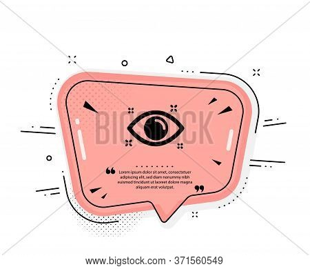 Health Eye Icon. Quote Speech Bubble. Oculist Clinic Sign. Optometry Vision Symbol. Quotation Marks.