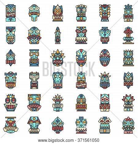Tiki Idols Icon Set. Outline Set Of Tiki Idols Vector Icons Thin Line Color Flat Isolated On White