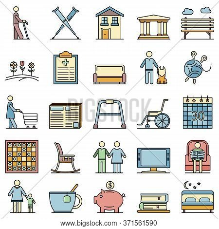 Pension Icon Set. Outline Set Of Pension Vector Icons Thin Line Color Flat Isolated On White