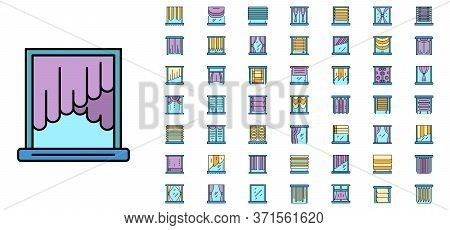 Blind Window Icon Set. Outline Set Of Blind Window Vector Icons Thin Line Color Flat Isolated On Whi