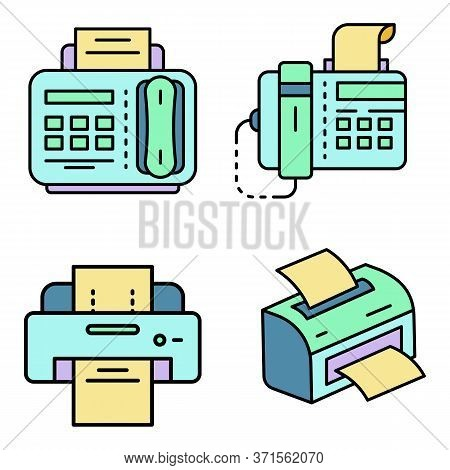 Fax Icon Set. Outline Set Of Fax Vector Icons Thin Line Color Flat Isolated On White