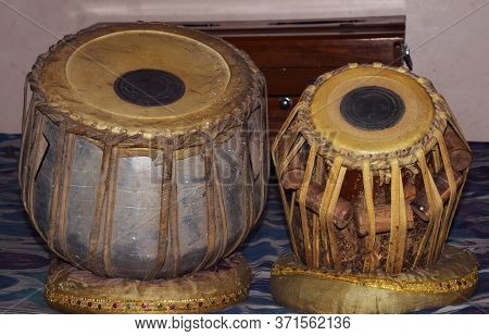 Indian Traditional Musical Instrument Tabla. The Left One Also Called As Baya In Hindi Language Is M