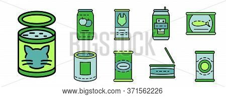 Tin Can Icon Set. Outline Set Of Tin Can Vector Icons Thin Line Color Flat Isolated On White