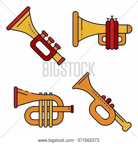 Trumpet Icons Set. Outline Set Of Trumpet Vector Icons Thin Line Color Flat Isolated On White