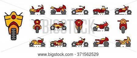 Motorbike Icons Set. Outline Set Of Motorbike Vector Icons Thin Line Color Flat Isolated On White