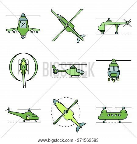 Helicopter Icons Set. Outline Set Of Helicopter Vector Icons Thin Line Color Flat Isolated On White