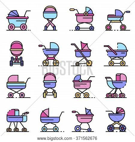 Pram Icons Set. Outline Set Of Pram Vector Icons Thin Line Color Flat Isolated On White