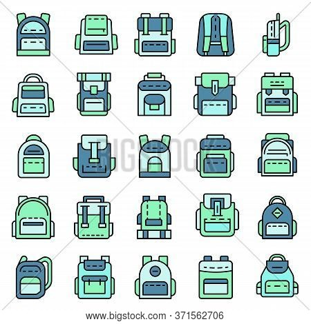 Backpack Icon Set. Outline Set Of Backpack Vector Icons Thin Line Color Flat Isolated On White