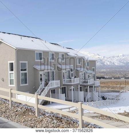 Square Peaceful Neighborhood In South Jordan City With View Of Distant Wasatch Mountain