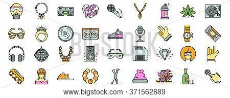 Hiphop Icon Set. Outline Set Of Hiphop Vector Icons Thin Line Color Flat Isolated On White