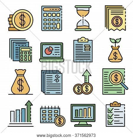 Expense Report Icons Set. Outline Set Of Expense Report Vector Icons Thin Line Color Flat Isolated O