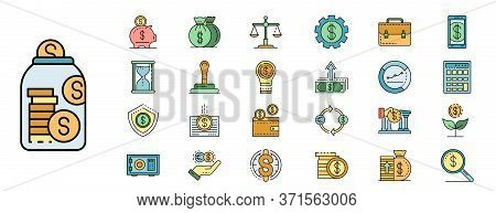 Deposit Icons Set. Outline Set Of Deposit Vector Icons Thin Line Color Flat Isolated On White