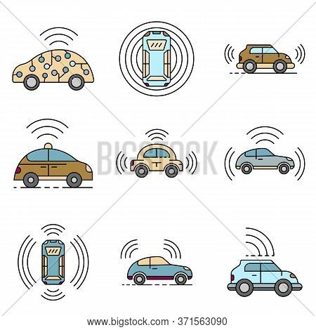 Driverless Car Icons Set. Outline Set Of Driverless Car Vector Icons Thin Line Color Flat Isolated O