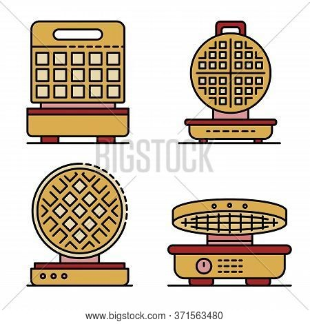 Waffle-iron Icons Set. Outline Set Of Waffle-iron Vector Icons Thin Line Color Flat Isolated On Whit