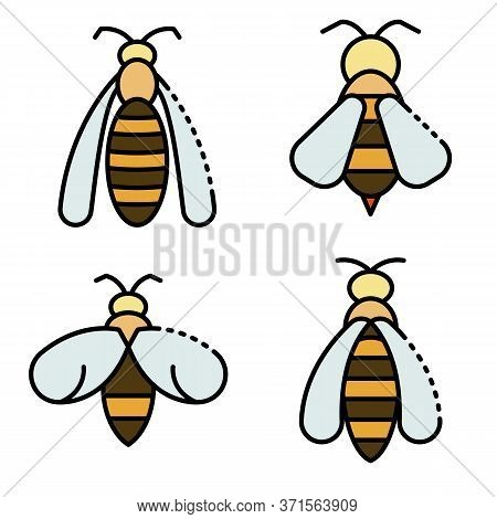 Wasp Icons Set. Outline Set Of Wasp Vector Icons Thin Line Color Flat Isolated On White