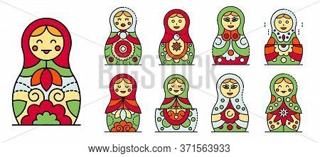 Nesting Doll Icons Set. Outline Set Of Nesting Doll Vector Icons Thin Line Color Flat Isolated On Wh