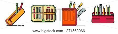 Pencil Case Icons Set. Outline Set Of Pencil Case Vector Icons Thin Line Color Flat Isolated On Whit