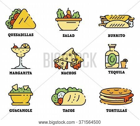 Mexican Food Icons Set. Outline Set Of Mexican Food Vector Icons Thin Line Color Flat Isolated On Wh
