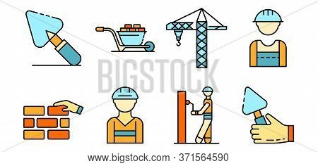 Masonry Worker Icons Set. Outline Set Of Masonry Worker Vector Icons Thin Line Color Flat Isolated O