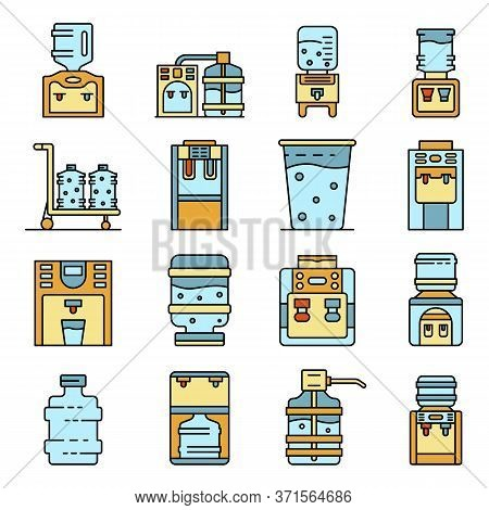 Cooler Water Icons Set. Outline Set Of Cooler Water Vector Icons Thin Line Color Flat Isolated On Wh