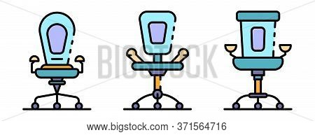 Desk Chair Icons Set. Outline Set Of Desk Chair Vector Icons Thin Line Color Flat Isolated On White