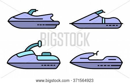 Jet Ski Icons Set. Outline Set Of Jet Ski Vector Icons Thin Line Color Flat Isolated On White