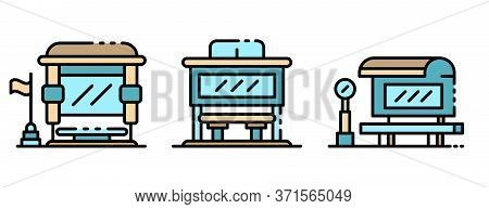 Bus Stop Icons Set. Outline Set Of Bus Stop Vector Icons Thin Line Color Flat Isolated On White