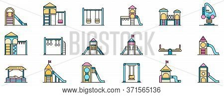 Kid Playground Icons Set. Outline Set Of Kid Playground Vector Icons Thin Line Color Flat Isolated O