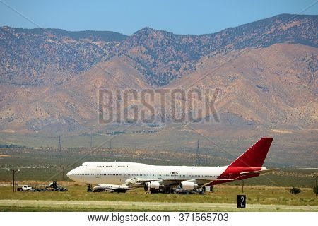 June 10, 2020 In Mojave, Ca:  Retired 747 Airliner Aircraft On A Field Ready To Be Resold Or Dismant