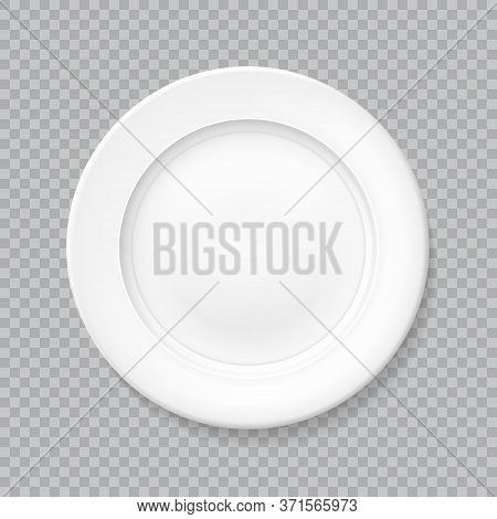 White Realistic Plate Top View With Shadow, Isolated Vector Object On A Transparent Background. Empt