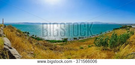 Panoramic View From The East Of The Sea Of Galilee With High Water Level. Northern Israel