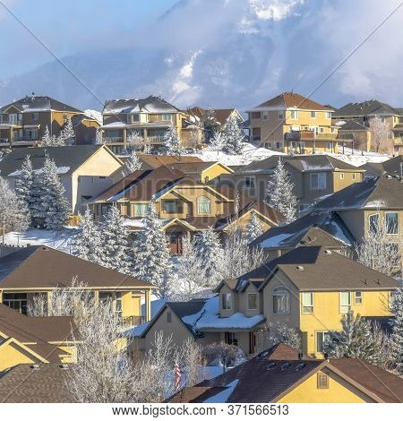 Square Scenic Town With Unobstructed View Of Towering Snowy Peaks Of Wasatch Mountain
