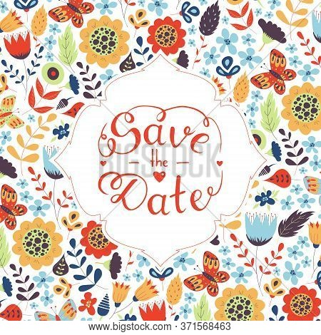 Save The Date Hand Lettering. Hand Drawn Phrase. Vector Script Illustration With Hearts For Wedding