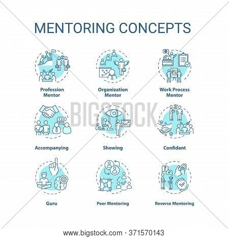 Mentoring Concept Icons Set. Personal And Professional Growth Idea Thin Line Rgb Color Illustrations