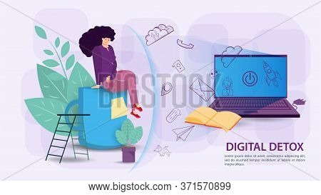 Digital Detoxification, Banner Concept For Web And Mobile Sites, A Woman Protected By A Shield, An A