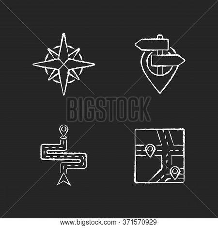 Navigation Chalk White Icons Set On Black Background. Modern Land And Marine Navigation. Rose Of Win