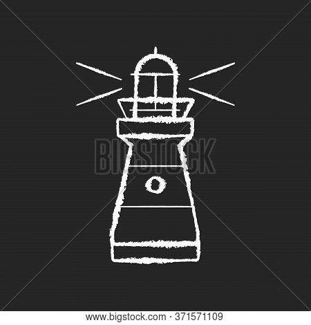 Lighthouse Chalk White Icon On Black Background. Traditional Maritime Navigational Landmark. Warning