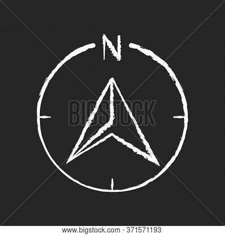 Navigator Arrow Chalk White Icon On Black Background. Modern Navigation Technology, Global Positioni